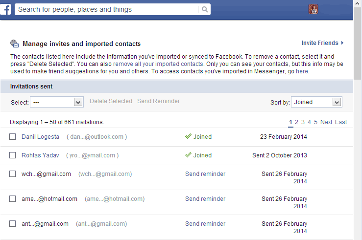 facebook friend request history